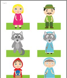 Pin by Barb Elmore on Family Reading Night 2019 Preschool Puzzles, Preschool Activities, Paper Puppets, Paper Toys, Red Riding Hood Party, Puppets For Kids, Traditional Stories, Farm Crafts, Folded Book Art