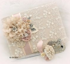Guest Book Wedding Bridal Signing Pen Signature Book by SolBijou
