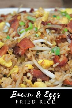 Bacon and Eggs Fried Rice Side Recipes, Easy Dinner Recipes, Breakfast Recipes, Easy Meals, Breakfast Fried Rice, Cheap Meals, Bacon Fries, Cooking Recipes, Healthy Recipes