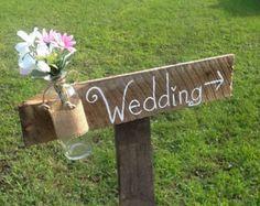 Menta señal direccional verde boda rústica signo país por PineNsign