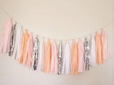 Peach Blush White and Silver Tassel Garland Banner  by BlushBazaar, $28.00