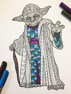 Yoda PDF Zentangle Coloring Page por DJPenscript en Etsy