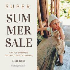 SUPER SUMMER SALE All summer themed organic baby clothes are on sale June 1-8, 2018 Organic Baby Clothes, News Blog, Summer Sale, Baby Clothes Shops, Organic Cotton, June, Children, Young Children, Boys