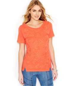 Lucky Brand Three-Quarter-Sleeve Embroidered Top - Tops - Women - Macy's