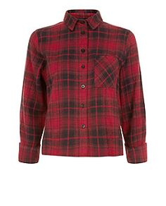 Red Check Rolled Sleeve Cropped Shirt  | New Look
