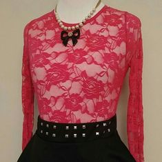 Hot Pink Lace Top Fun lace top can be worn with a hot pink or nude tank underneath for coverage. Or just a bandeau!  Valentine's Day Collection Tops