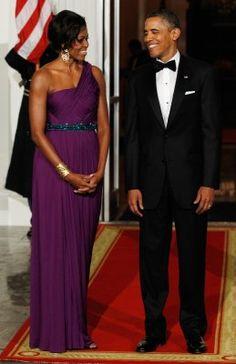Amazing dress on #FLOTUS by Koren-American designer Doo-Ri Chung for tonight's (Oct 13) state dinner for South Korean President Lee Myung-bak and his wife, Kim Yoon-ok