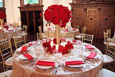red & gold, skip the giant tall centrepiece the rest is really nice.