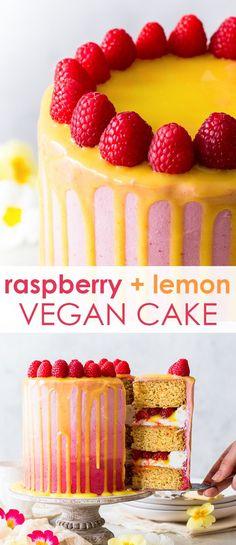 This beautiful and delicious vegan raspberry & lemon cake features fluffy vegan sponges, luscious vegan frosting and a vegan lemon curd drip. Rasberry Desserts, Rasberry Cake, Raspberry Lemon Cakes, Vegan Sweets, Vegan Desserts, Delicious Desserts, Dessert Recipes, Vegan Recipes, Vegan Buttercream