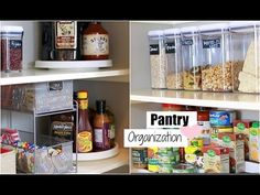 Organize With Me! Pantry Organization - Tips For An Organized Pantry - MissLizHeart Small Pantry Organization, Kitchen Storage Hacks, Organized Pantry, Kitchen Cabinet Organization, Pantry Storage, Organization Hacks, Organizing, Built In Pantry, Pantry Makeover
