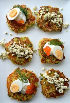 Zucchini And Feta Fritters With Dill And Salmon Roe Topping