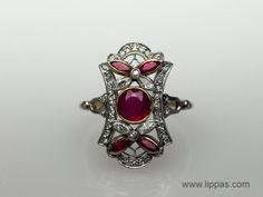 Lippa's Estate and Fine Jewelry - Edwardian Platinum Topped 18 Karat Yellow Gold Ruby and Diamond Ring, $3,850.00 (http://lippas.com/edwardian-platinum-topped-18-karat-gold-ruby-and-diamond-ring/)