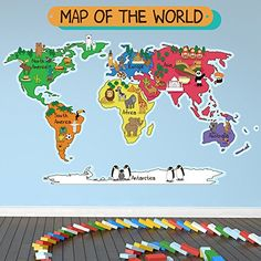 Cultural world map wall decal reusable vinyl fabric cartoon animal world map educational color wall sticker k https gumiabroncs Gallery