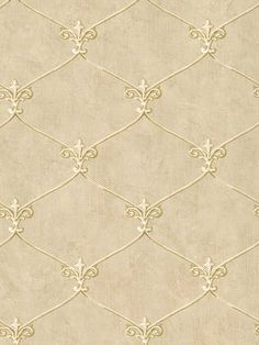 Wallpaper Small Gold Leaf Fleur de lis Lattice Trellis on Beige Background Designer Wallpaper, Blinds, Textiles, Go Wallpaper, Paper Design, Fashion, Bathroom Ideas, Addiction, Gold Necklace