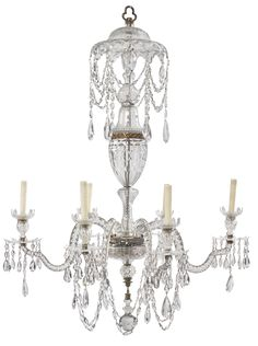 date unspecified A George III cut glass six light chandelier Estimate  10,000 — 15,000  USD  LOT SOLD. 23,750 USD (Hammer Price with Buyer's Premium)