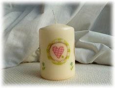 Candle hand decorated with Hearts - Green £4.95