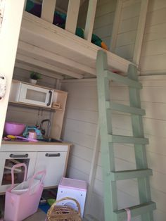 Playhouse interior with mini kitchen