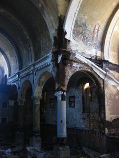 Detail of broken pillars from abandoned St. John's church in Cleveland.