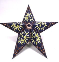 """Smiling Sun 5 Point Paper Star Lantern With 12"""" White Electric Cord SLPPWHNO by Whirled Planet. $18.95. 12"""" White Electric Cord Included/ 40 Watt Lightbulb Maximum - Not Included. Handmade Paper Star Lantern With Blue Background With Yellow Smiling Sun And Tissue Paper Backed Cut Outs. Star Lantern Measures About 24"""" Across And 6"""" Deep. Comes With Complete Easy To Assemble Instructions. Something a little different!  Measures 24"""" across when assembled.  . Star lantern m..."""
