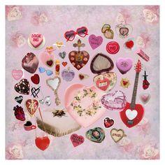 """Heart Shaped Everything"" by whiskeyismykindoflullaby on Polyvore featuring moda, Meadham Kirchhoff, Swarovski, Vera Wang, Sourpuss, Kokon To Zai, Lara, Wildfox, Monet e Topshop"