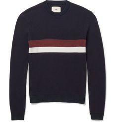 FolkStriped Waffle-Knit Sweater