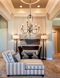 Transitional Living Design Ideas, Pictures, Remodel and Decor Living Room Modern, Living Room Designs, Outdoor Light Fixtures, Chandelier Lighting, Chandeliers, Ceiling Decor, Luxury Living, Modern Interior Design, Ceilings