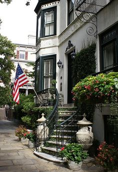 Savannah, Georgia.  Nothin' says the South like ivy, iron railing and gates, & flowers ... y'all.