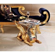 Golden Egyptian Sphinx Glass-Topped Sculptural Table by Design Toscano