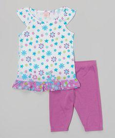 Look what I found on #zulily! White & Purple Flower Angel-Sleeve Tunic & Capri Leggings - Girls #zulilyfinds