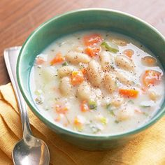 potato and white bean chowder The addition of beans to a classic potato chowder boosts the protein, escalating this creamy soup from a side dish to the main dish. A chopped carrot and your favorite herb provide extra flavor and flecks of color. Best Potato Recipes, Diabetic Recipes, Great Recipes, Favorite Recipes, Diabetic Foods, Yummy Recipes, Healthy Recipes, Chowder Recipes, Soup Recipes