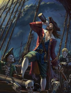 ArtStation - The Captain and his immortal crew, Nikita Volobuev