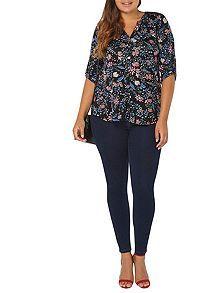 Black Floral 3/4 Sleeve Shirt