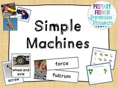 English - Simple Machines - Flashcards and Activities Science Resources, Activities, Grade 2 Science, French Immersion, Simple Machines, Small Groups, Teaching Ideas, Learning, Words