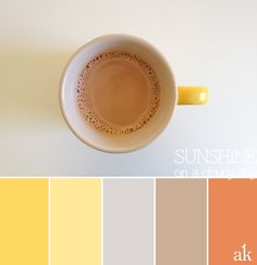 """a coffee-cup-inspired color palette // yellow, gray, taupe, """"thai tea orange"""""""