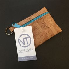 """Cork coin bag Pack light with this zip pouch key chain!  The perfect size for cash and credit cards.  Handmade from eco-friendly cork.bCork fabric, Gold Key Ring, Zipper closure, 4.5""""W x 4""""H Brand new, price firm. Natalie therese Bags Clutches & Wristlets"""