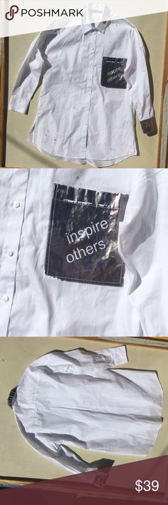 Inspire Others Zara Collection This blouse is a painted on purposely in Spain. It's part of an exclusive Zara collection, it's fun and inspirational. Wear this shirt with a pair of jeans or shorts for the summer. You will def, get second looks with this piece, Zara Tops Button Down Shirts