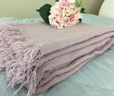 This natural linen blanket is thick and warm, made of purple pink natural linen yarn, double yarn weave, can also serve as a cozy comforter for summer and fall. Fringe hem. Regular machine washing will not depart. (suggest to put in wash bag to protect the tattered edges). #linen #linenblanket