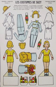Vintage French Uncut Suzy Paper Doll by UrbanRenewalDesigns, $39.99* 1500 free paper dolls at artist Arielle Gabriel's The International Paper Doll Society also free China and Japan paper dolls at The China Adventures of Arielle Gabriel for my Pinterest pals *