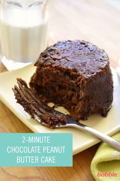 This single-serving of Chocolate Peanut Butter Cake is simple to make and only requires 2 minutes of your time. It's as easy as the typical mug cake recipes, only without the mug. It takes about a minute to spoon in and mix up and another minute to cook. This delicious dessert offers the taste of gooey, melted chocolate in every bite. Click for the full directions.