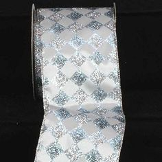 Silver Glitter Harlequin Wired Craft Ribbon 4 x 20 Yards ** Click on the image for additional details.
