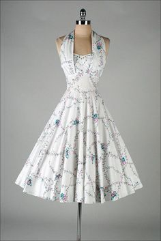 How feminine, flattering and beautiful is this dress.   Vintage 1950 White Dress with Butterfly Print.