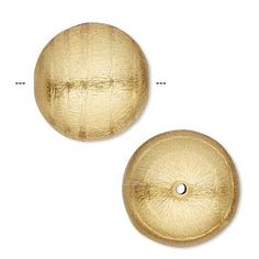 Bead, gold-plated copper, 20mm brushed round with swirl design. Sold per pkg of 2. Shop at Fire Mountain Gems and Beads for all of your Beading, Crafting and Jewelry-Making needs.