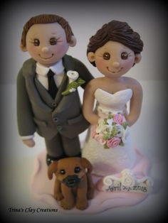 Wedding Cake Topper with Puggle