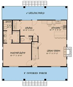 Cottage Plan: 1,764 Square Feet, 3 Bedrooms, 2.5 Bathrooms - 8318-00037