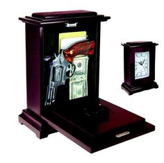 Rectangular Firearm Clock -  This concealed rectangular clock is made of solid wood with a fully functioning quartz clock. When needed, your firearm can be accessed by releasing the magnetic latch located at the top of the front panel.