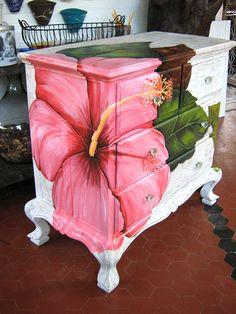Whoa! Gorgeous hibiscus painted dresser!