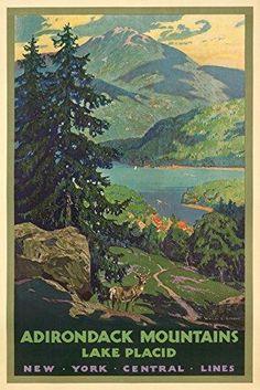 New York Central Lines - Adirondack Mountains Vintage Poster (artist: Greene Walter L.) USA c. 1928 (9x12 Art Print Wall Decor Travel Poster)
