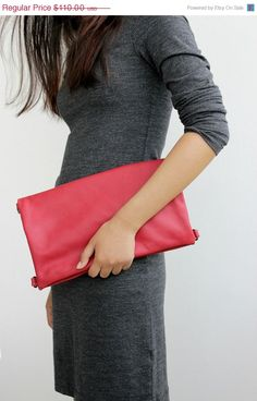 SPRING SALE Red leather clutch bag large oversized by BarLeather