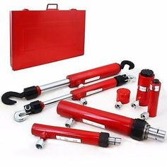 Attachment kit for porta power unit. Here's an essential hydraulic kit for auto body and frame repair. Kit includes a puller ram and a pusher ram for lif Hydraulic Ram, Hydraulic Cylinder, Metal Fabrication Tools, Auto Body Repair, Auto Parts Store, Car Tools, Tools For Sale, Automotive Tools, The Body Shop