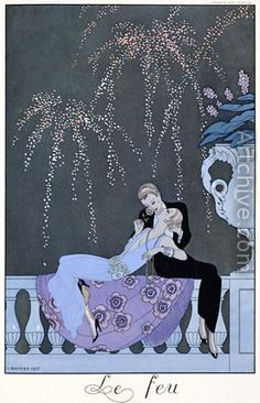 Shop Vintage Art Deco Fireworks Le Feu, George Barbier Poster created by YesterdayCafe. Personalize it with photos & text or purchase as is! Art And Illustration, Illustrations, Art Deco Posters, Vintage Posters, Vintage Art, Art Deco Artwork, Band Posters, Art Lesbien, Art Nouveau Pintura